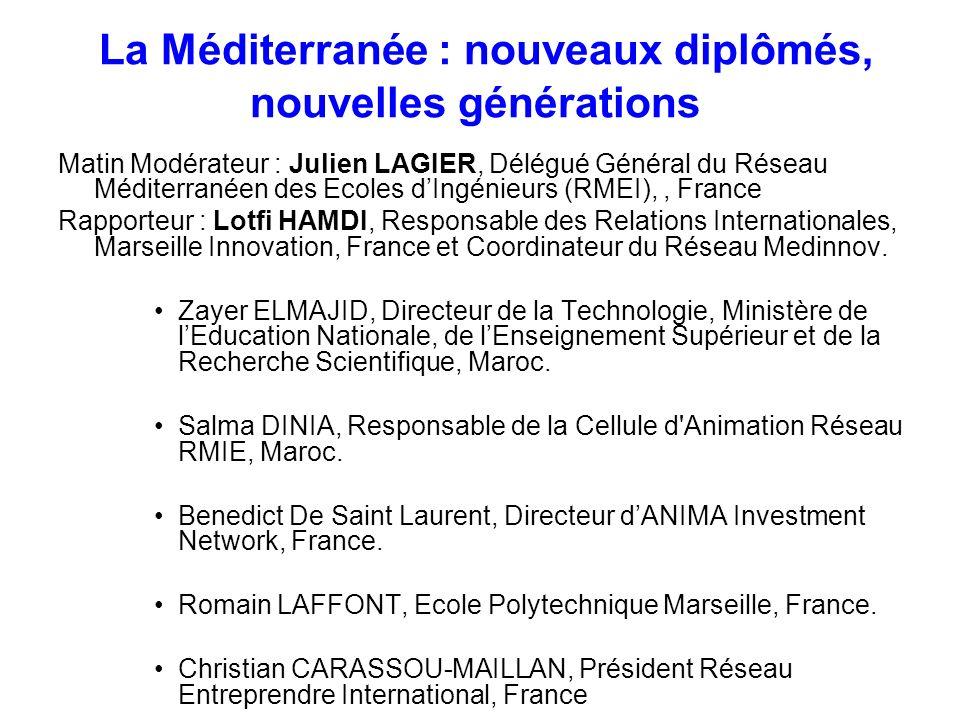 La Méditerranée : nouveaux diplômés, nouvelles générations Matin Modérateur : Julien LAGIER, Délégué Général du Réseau Méditerranéen des Ecoles dIngén
