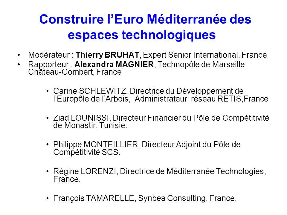 Construire lEuro Méditerranée des espaces technologiques Modérateur : Thierry BRUHAT, Expert Senior International, France Rapporteur : Alexandra MAGNI