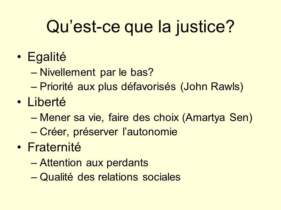 Quest-ce que la justice? Egalité –Nivellement par le bas? –Priorité aux plus défavorisés (John Rawls) Liberté –Mener sa vie, faire des choix (Amartya