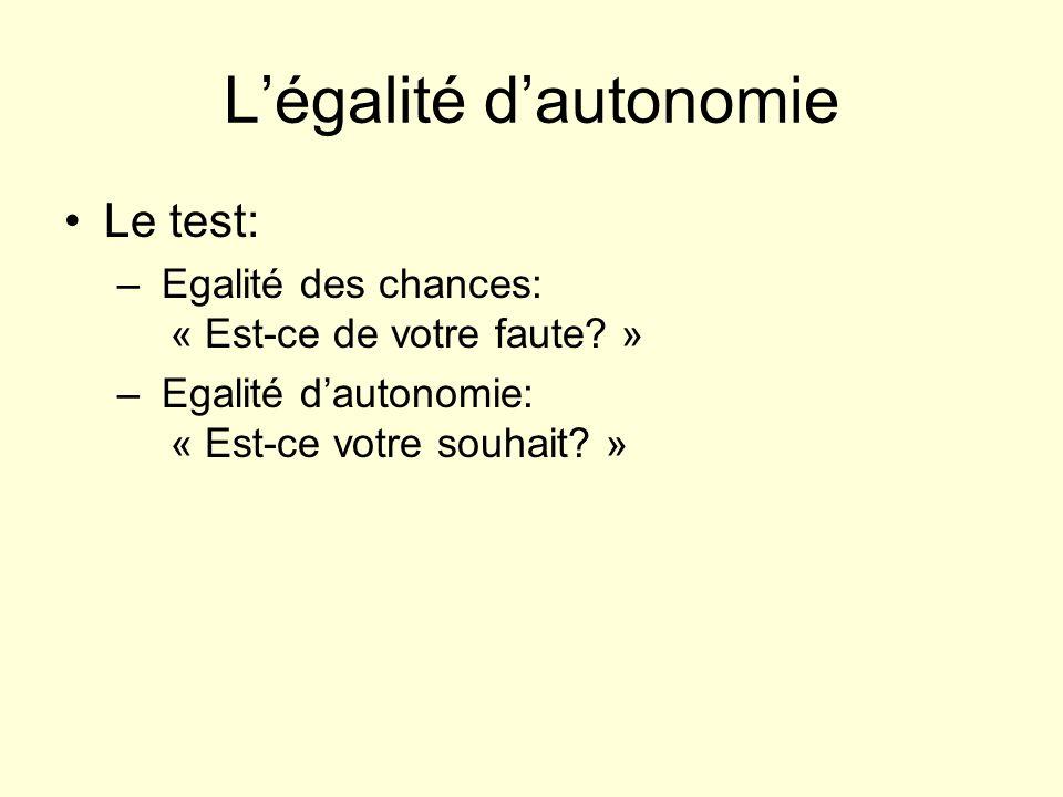 Légalité dautonomie Le test: – Egalité des chances: « Est-ce de votre faute? » – Egalité dautonomie: « Est-ce votre souhait? »