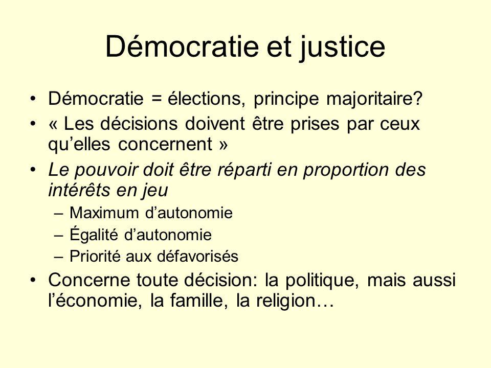 Démocratie et justice Démocratie = élections, principe majoritaire? « Les décisions doivent être prises par ceux quelles concernent » Le pouvoir doit