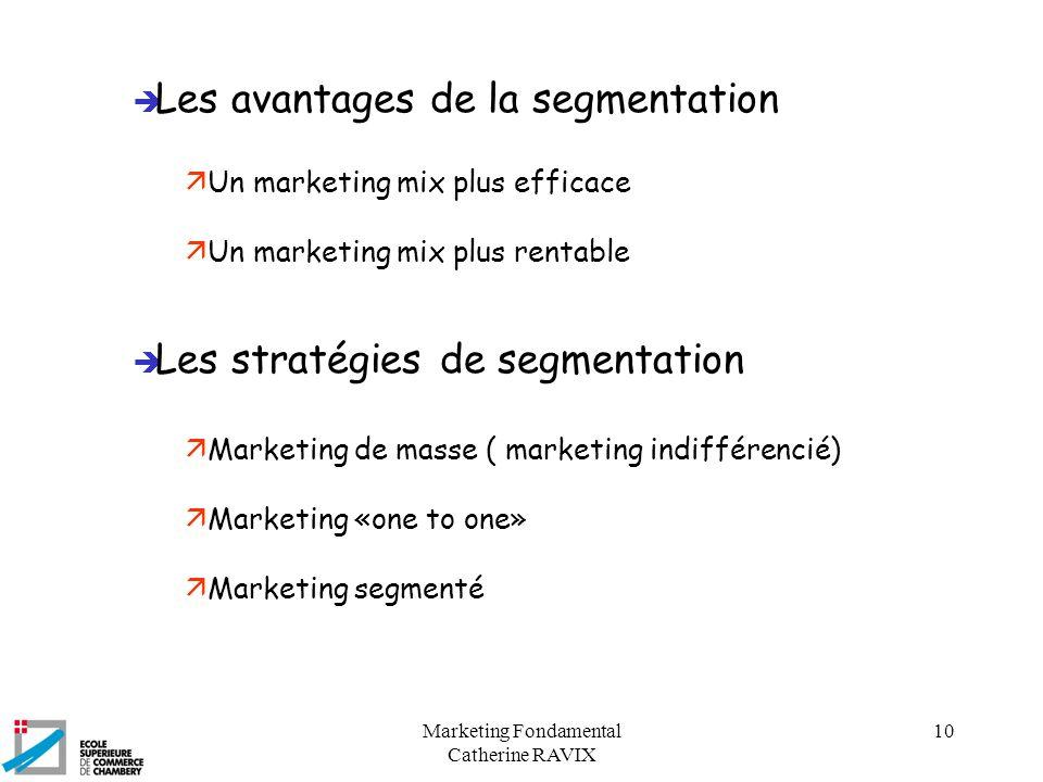 Marketing Fondamental Catherine RAVIX 10 è Les avantages de la segmentation ä Un marketing mix plus efficace ä Un marketing mix plus rentable è Les st