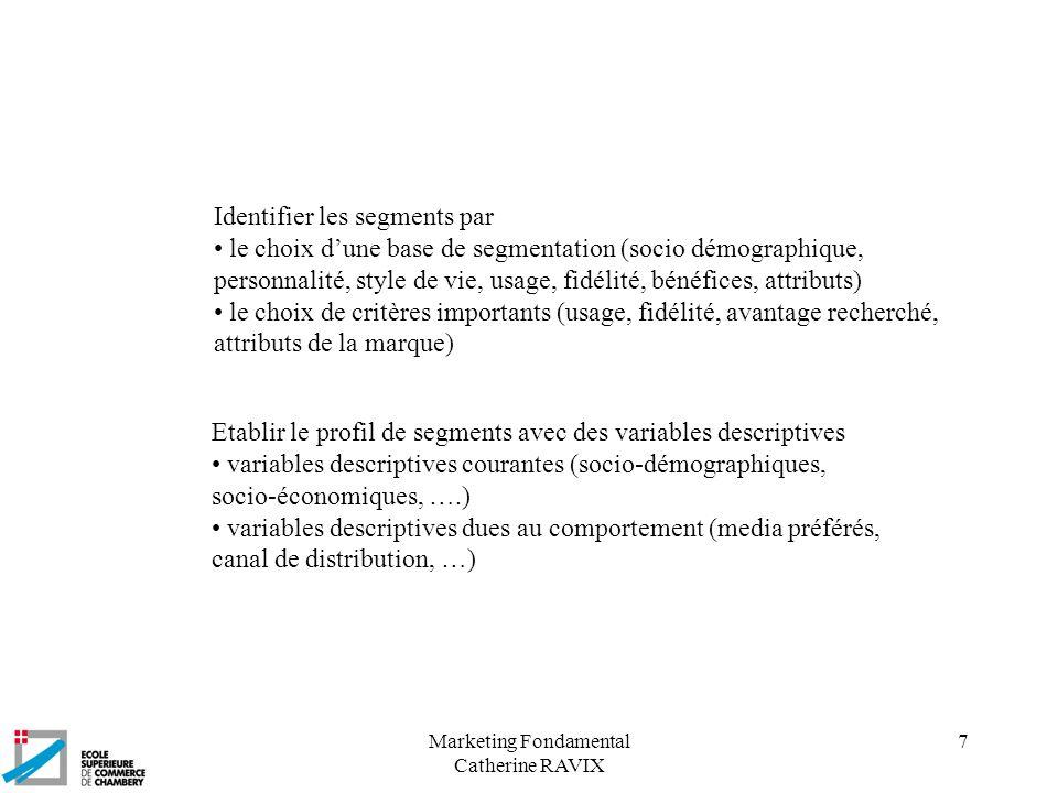 Marketing Fondamental Catherine RAVIX 7 Identifier les segments par le choix dune base de segmentation (socio démographique, personnalité, style de vi
