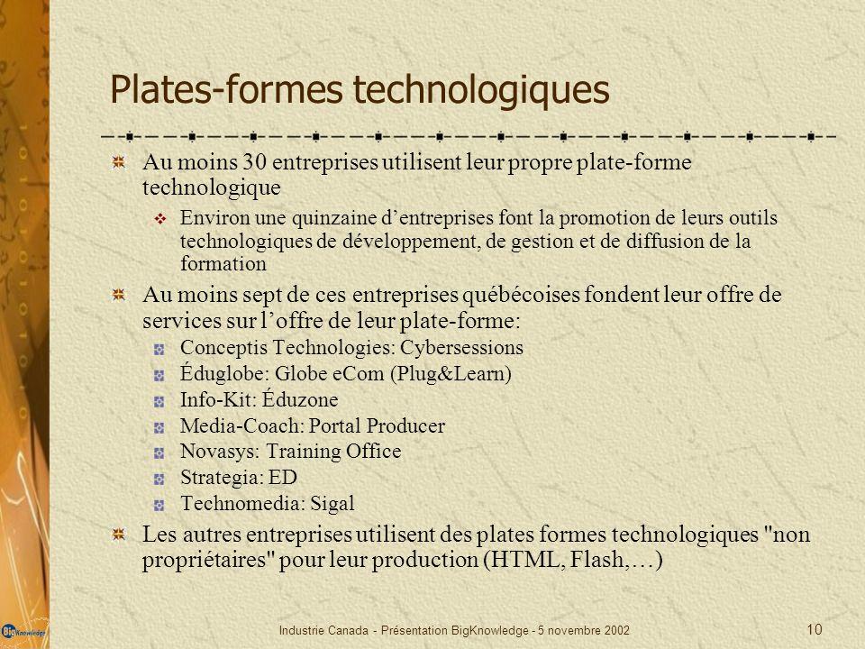 Industrie Canada - Présentation BigKnowledge - 5 novembre 2002 10 Plates-formes technologiques Au moins 30 entreprises utilisent leur propre plate-for