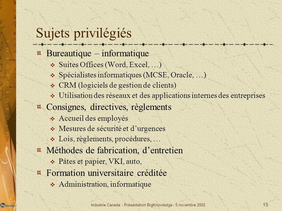 Industrie Canada - Présentation BigKnowledge - 5 novembre 2002 15 Sujets privilégiés Bureautique – informatique Suites Offices (Word, Excel, …) Spécia