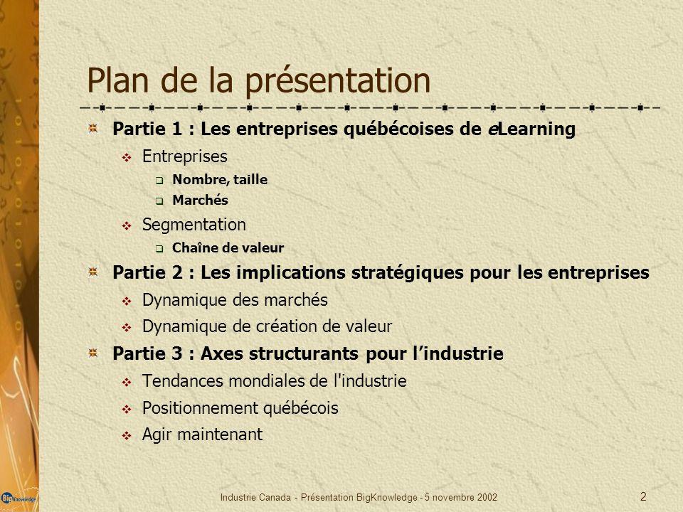 Industrie Canada - Présentation BigKnowledge - 5 novembre 2002 2 Plan de la présentation Partie 1 : Les entreprises québécoises de eLearning Entrepris