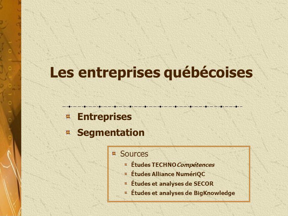 Les entreprises québécoises Entreprises Segmentation Sources Études TECHNOCompétences Études Alliance NumériQC Études et analyses de SECOR Études et a