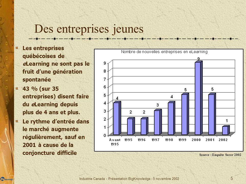 Industrie Canada - Présentation BigKnowledge - 5 novembre 2002 5 Des entreprises jeunes Les entreprises québécoises de eLearning ne sont pas le fruit