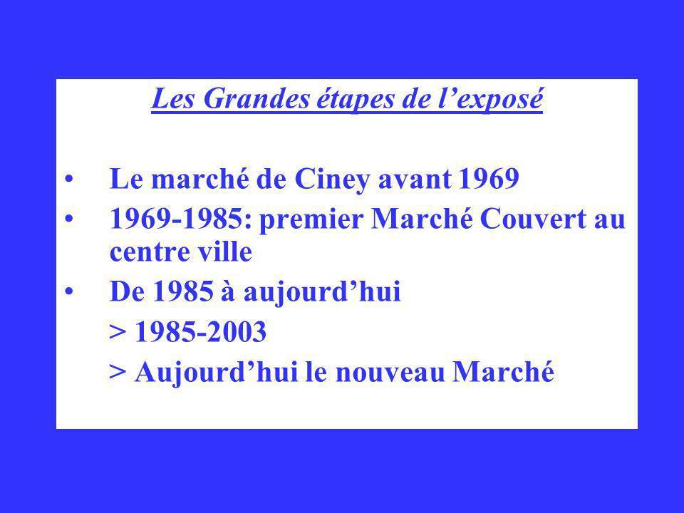 Les Grandes étapes de lexposé Le marché de Ciney avant 1969 1969-1985: premier Marché Couvert au centre ville De 1985 à aujourdhui > 1985-2003 > Aujou