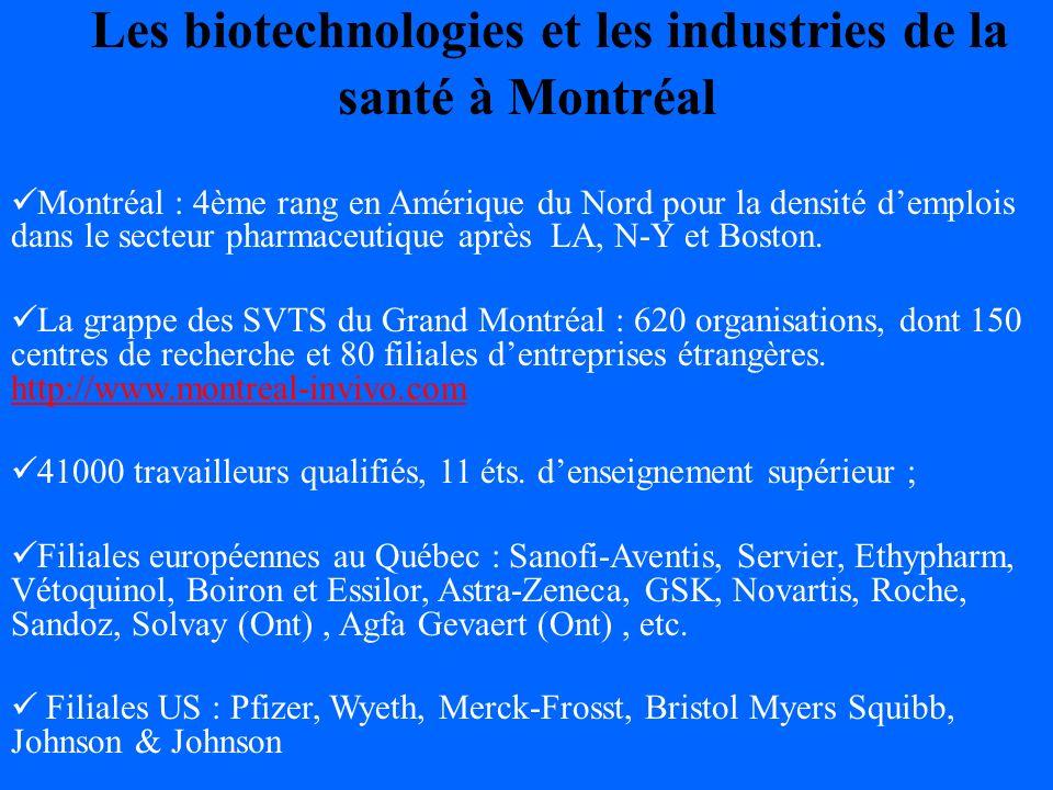 Les biotechnologies et les industries de la santé à Montréal Montréal : 4ème rang en Amérique du Nord pour la densité demplois dans le secteur pharmaceutique après LA, N-Y et Boston.