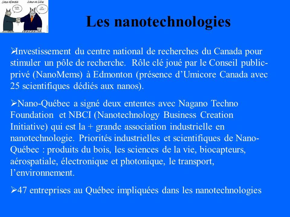 Les nanotechnologies Investissement du centre national de recherches du Canada pour stimuler un pôle de recherche.