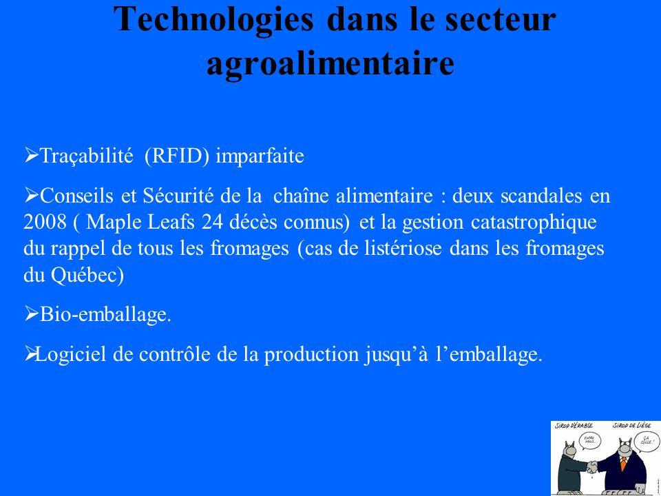 Technologies dans le secteur agroalimentaire Traçabilité (RFID) imparfaite Conseils et Sécurité de la chaîne alimentaire : deux scandales en 2008 ( Maple Leafs 24 décès connus) et la gestion catastrophique du rappel de tous les fromages (cas de listériose dans les fromages du Québec) Bio-emballage.