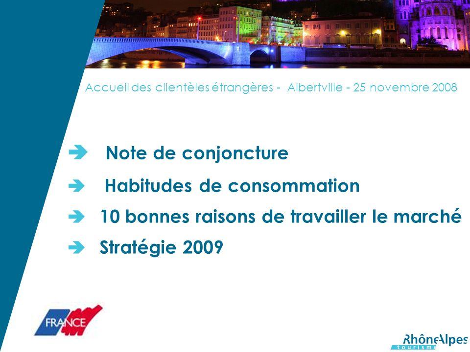 Accueil des clientèles étrangères - Albertville - 25 novembre 2008 Note de conjoncture Habitudes de consommation 10 bonnes raisons de travailler le marché Stratégie 2009