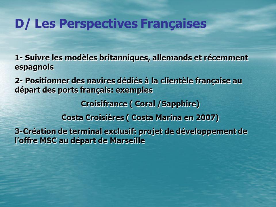 D/ Les Perspectives Françaises 1- Suivre les modèles britanniques, allemands et récemment espagnols 2- Positionner des navires dédiés à la clientèle f