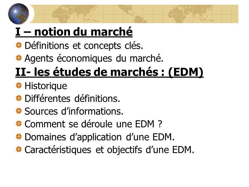 I – notion du marché Définitions et concepts clés. Agents économiques du marché. II- les études de marchés : (EDM) Historique Différentes définitions.
