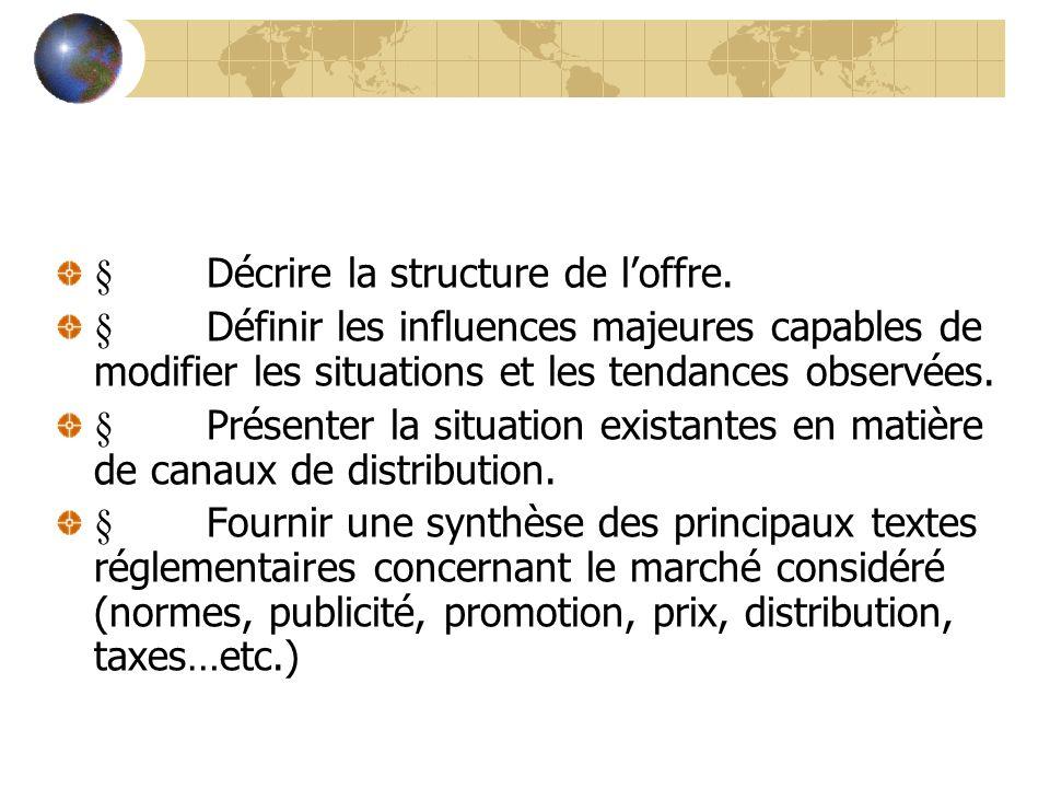 Décrire la structure de loffre. Définir les influences majeures capables de modifier les situations et les tendances observées. Présenter la situation