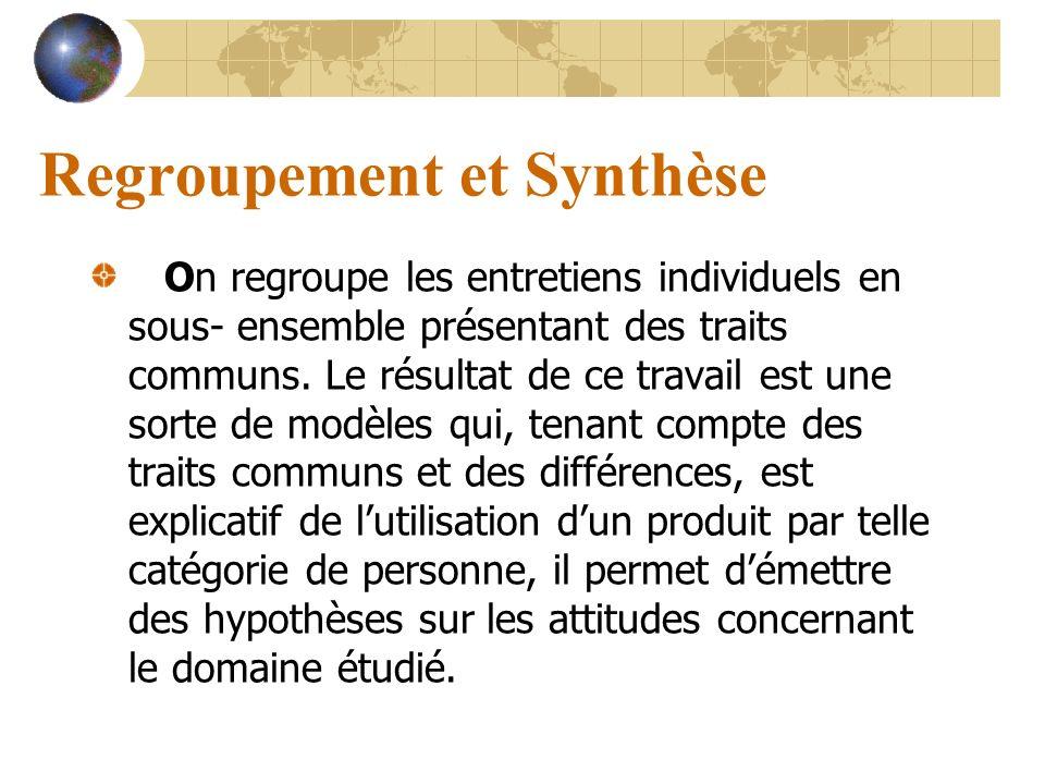 Regroupement et Synthèse On regroupe les entretiens individuels en sous- ensemble présentant des traits communs. Le résultat de ce travail est une sor