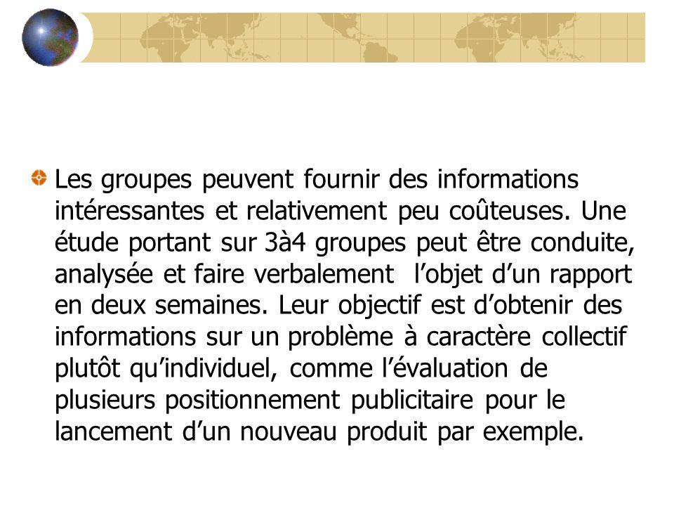 Les groupes peuvent fournir des informations intéressantes et relativement peu coûteuses. Une étude portant sur 3à4 groupes peut être conduite, analys