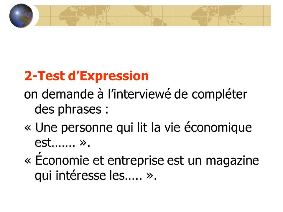 2-Test dExpression on demande à linterviewé de compléter des phrases : « Une personne qui lit la vie économique est……. ». « Économie et entreprise est