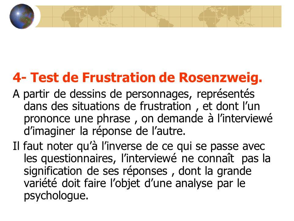 4- Test de Frustration de Rosenzweig. A partir de dessins de personnages, représentés dans des situations de frustration, et dont lun prononce une phr