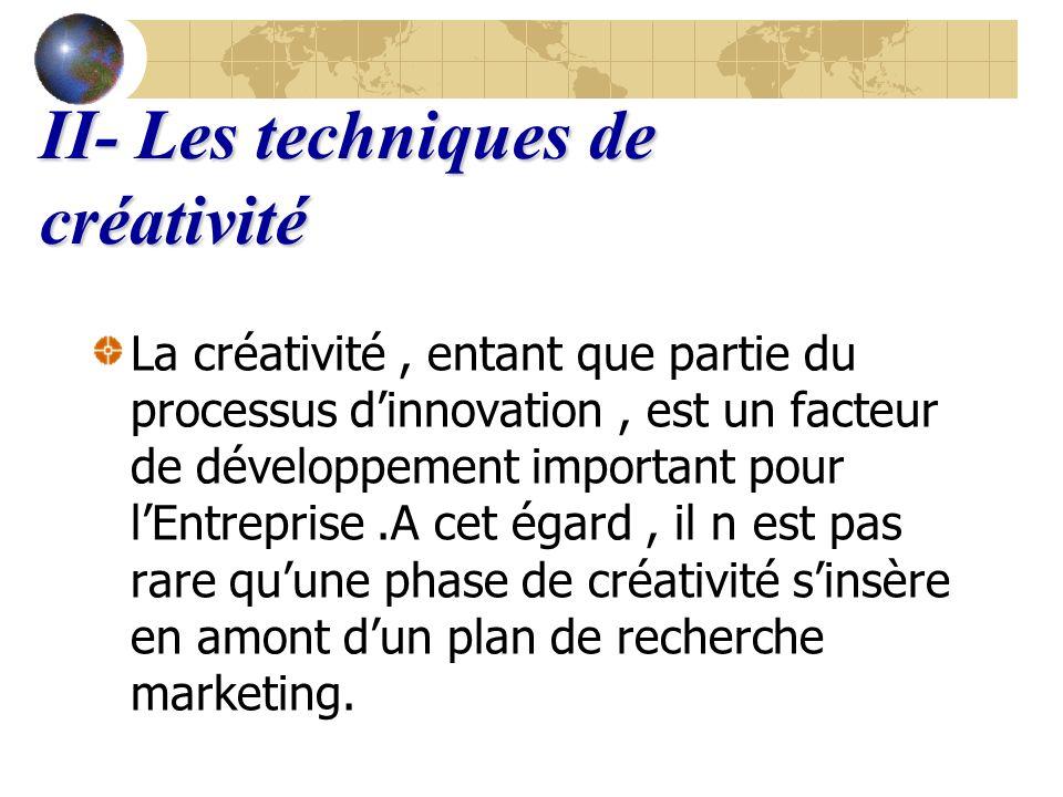 II- Les techniques de créativité La créativité, entant que partie du processus dinnovation, est un facteur de développement important pour lEntreprise