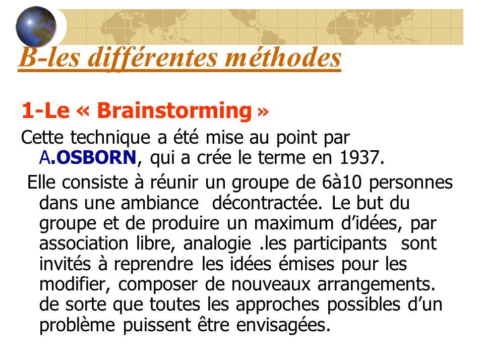B-les différentes méthodes 1-Le « Brainstorming » Cette technique a été mise au point par A.OSBORN, qui a crée le terme en 1937. Elle consiste à réuni