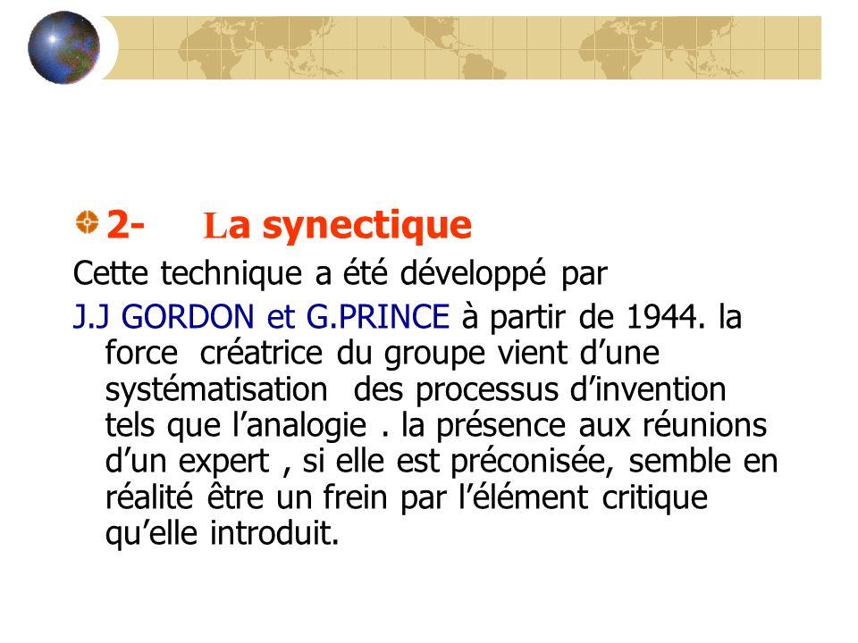2- L a synectique Cette technique a été développé par J.J GORDON et G.PRINCE à partir de 1944. la force créatrice du groupe vient dune systématisation