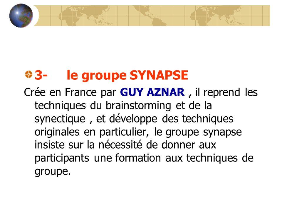 3- le groupe SYNAPSE Crée en France par GUY AZNAR, il reprend les techniques du brainstorming et de la synectique, et développe des techniques origina