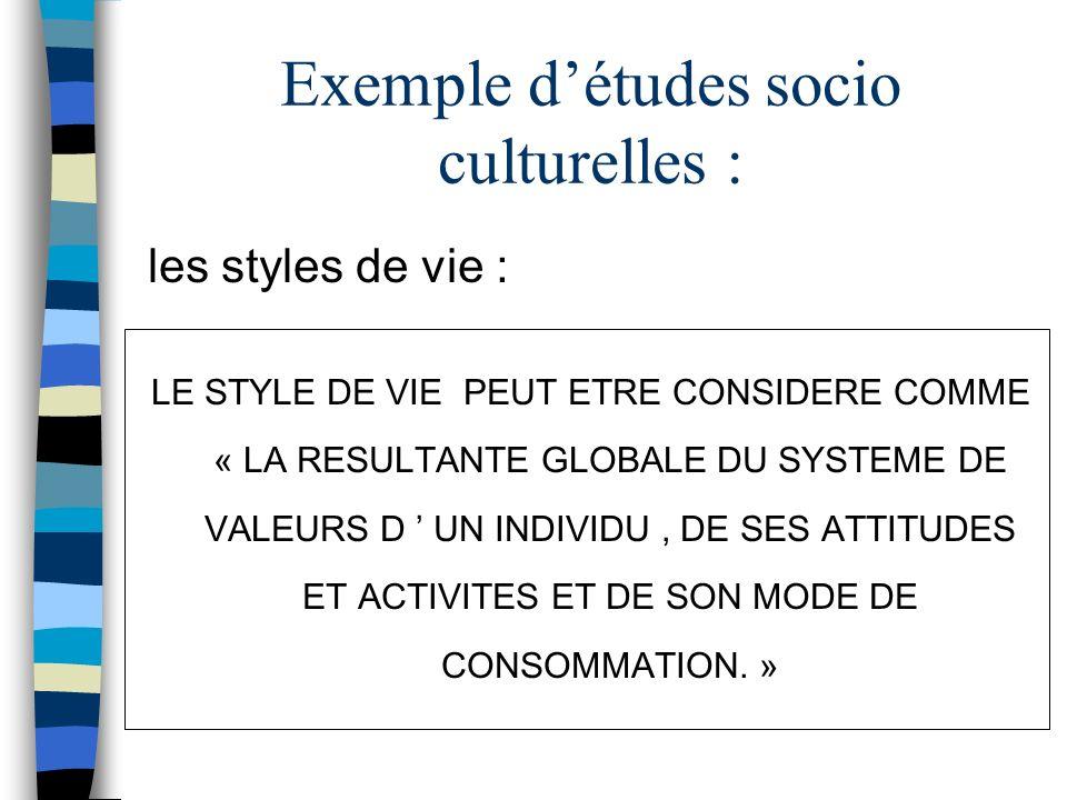 Exemple détudes socio culturelles : les styles de vie : LE STYLE DE VIE PEUT ETRE CONSIDERE COMME « LA RESULTANTE GLOBALE DU SYSTEME DE VALEURS D UN I