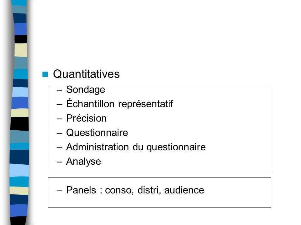 Quantitatives –Sondage –Échantillon représentatif –Précision –Questionnaire –Administration du questionnaire –Analyse –Panels : conso, distri, audienc