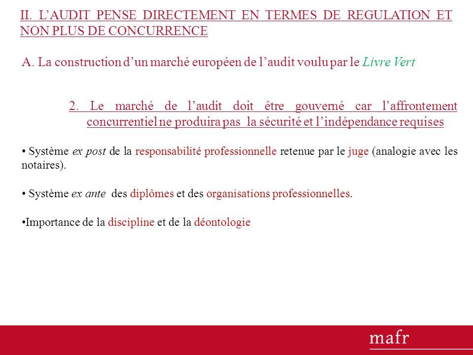 A. La construction dun marché européen de laudit voulu par le Livre Vert 2. Le marché de laudit doit être gouverné car laffrontement concurrentiel ne