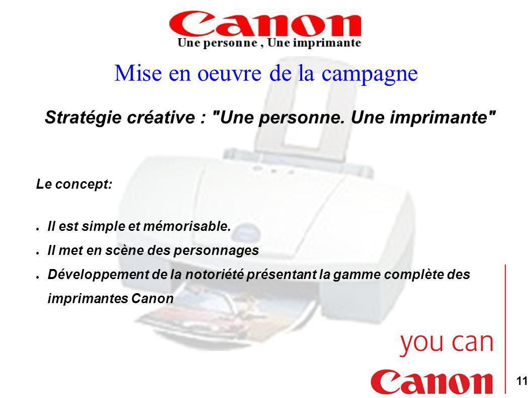 11 Mise en oeuvre de la campagne Stratégie créative : Une personne.