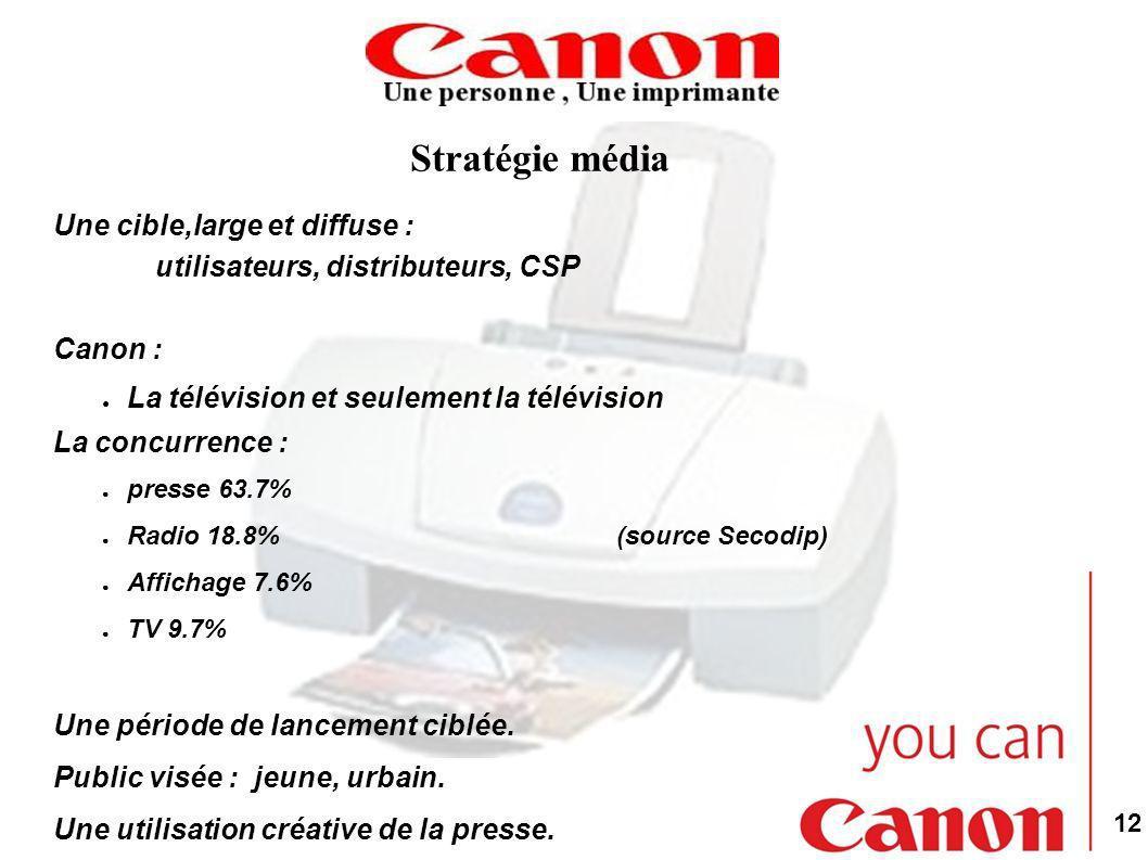12 Stratégie média Une cible,large et diffuse : utilisateurs, distributeurs, CSP Canon : La télévision et seulement la télévision La concurrence : presse 63.7% Radio 18.8% (source Secodip) Affichage 7.6% TV 9.7% Une période de lancement ciblée.
