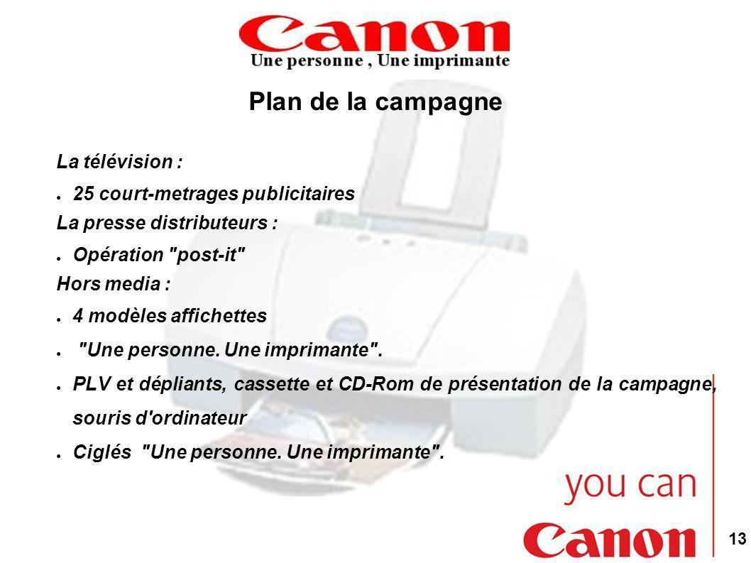 13 Plan de la campagne La télévision : 25 court-metrages publicitaires La presse distributeurs : Opération post-it Hors media : 4 modèles affichettes Une personne.