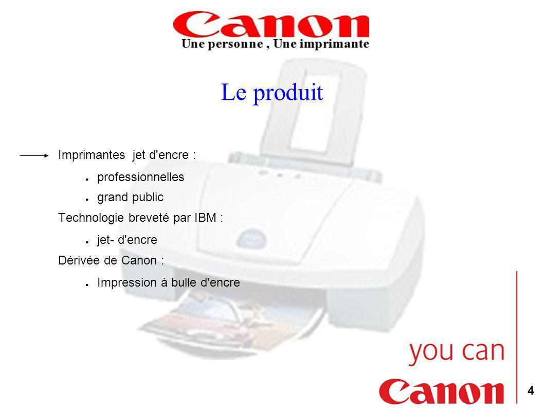 4 Le produit Imprimantes jet d'encre : professionnelles grand public Technologie breveté par IBM : jet- d'encre Dérivée de Canon : Impression à bulle