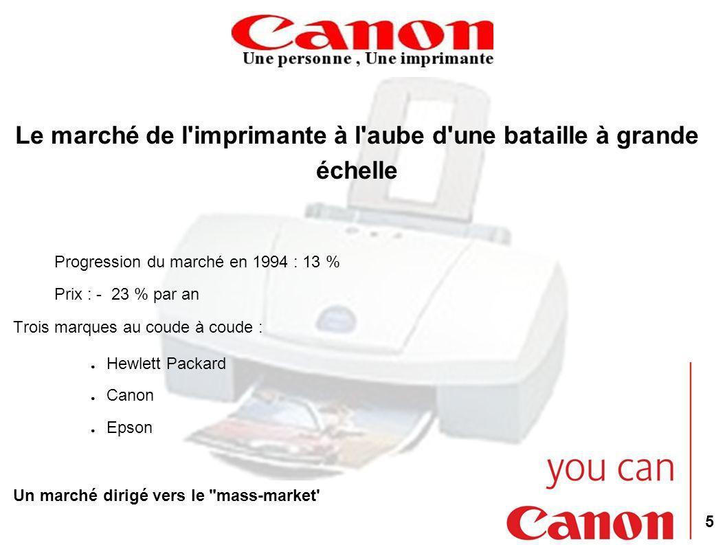 5 Le marché de l imprimante à l aube d une bataille à grande échelle Progression du marché en 1994 : 13 % Prix : - 23 % par an Trois marques au coude à coude : Hewlett Packard Canon Epson Un marché dirigé vers le mass-market
