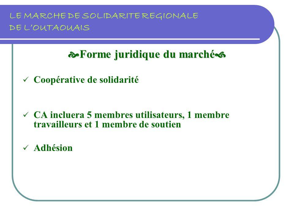 LE MARCHE DE SOLIDARITE REGIONALE DE LOUTAOUAIS Forme juridique du marché Forme juridique du marché Coopérative de solidarité CA incluera 5 membres utilisateurs, 1 membre travailleurs et 1 membre de soutien Adhésion