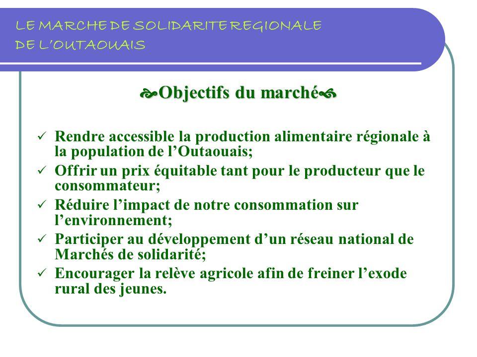 LE MARCHE DE SOLIDARITE REGIONALE DE LOUTAOUAIS Objectifs du marché Objectifs du marché Rendre accessible la production alimentaire régionale à la population de lOutaouais; Offrir un prix équitable tant pour le producteur que le consommateur; Réduire limpact de notre consommation sur lenvironnement; Participer au développement dun réseau national de Marchés de solidarité; Encourager la relève agricole afin de freiner lexode rural des jeunes.