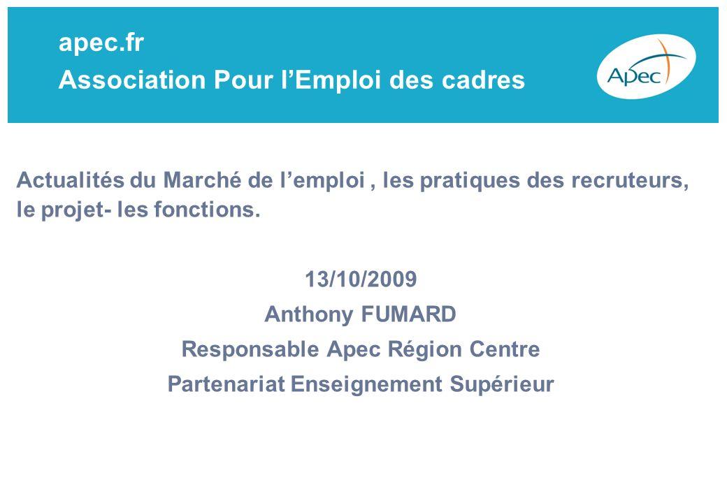 apec.fr Association Pour lEmploi des cadres Actualités du Marché de lemploi, les pratiques des recruteurs, le projet- les fonctions.