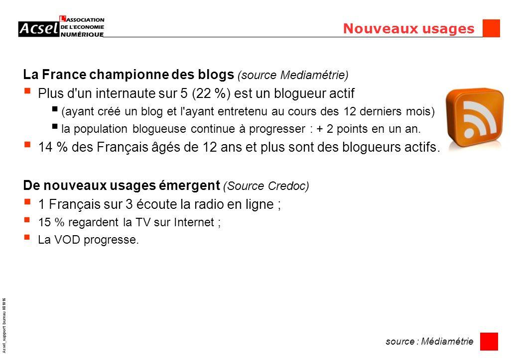 11 Acsel_support bureau 081016 Nouveaux usages La France championne des blogs (source Mediamétrie) Plus d un internaute sur 5 (22 %) est un blogueur actif (ayant créé un blog et l ayant entretenu au cours des 12 derniers mois) la population blogueuse continue à progresser : + 2 points en un an.
