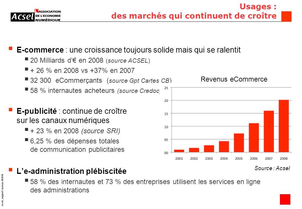 13 Acsel_support bureau 081016 E-commerce : une croissance toujours solide mais qui se ralentit 20 Milliards d en 2008 (source ACSEL) + 26 % en 2008 vs +37% en 2007 32 300 eCommerçants ( source Gpt Cartes CB ) 58 % internautes acheteurs (source Credoc) E-publicité : continue de croître sur les canaux numériques + 23 % en 2008 (source SRI) 6,25 % des dépenses totales de communication publicitaires Le-administration plébiscitée 58 % des internautes et 73 % des entreprises utilisent les services en ligne des administrations Usages : des marchés qui continuent de croître Revenus eCommerce Source : Acsel