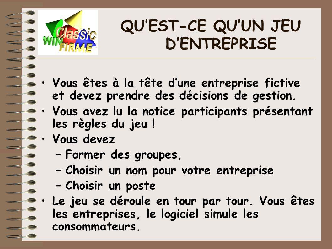 LE FONCTIONNEMENT DU JEU Le logiciel simule : –L interaction des entreprises sur un marché concurrentiel.