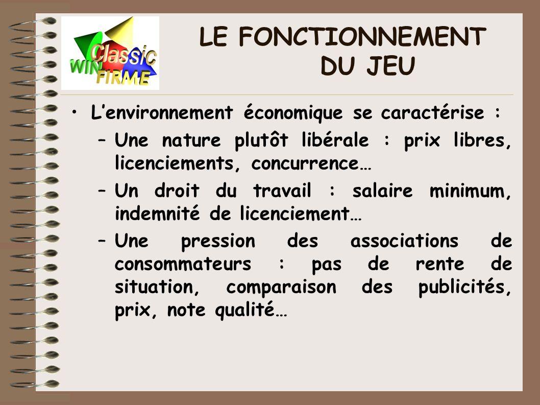 LE FONCTIONNEMENT DU JEU Lenvironnement économique se caractérise : –Une nature plutôt libérale : prix libres, licenciements, concurrence… –Un droit d