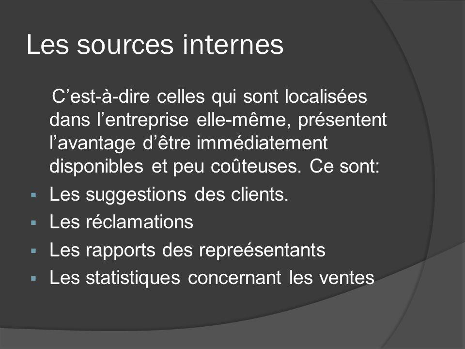 Les sources internes Cest-à-dire celles qui sont localisées dans lentreprise elle-même, présentent lavantage dêtre immédiatement disponibles et peu co