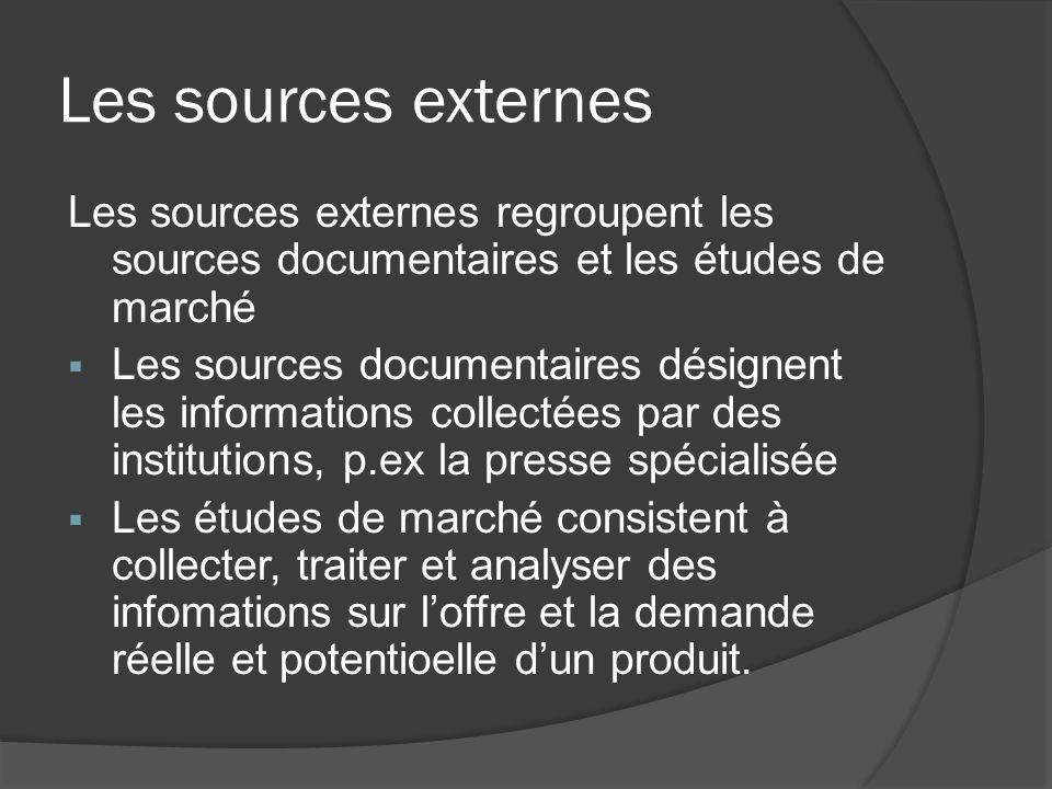 Les sources externes Les sources externes regroupent les sources documentaires et les études de marché Les sources documentaires désignent les informa