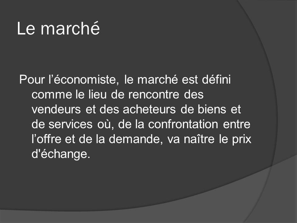 Le marché Pour léconomiste, le marché est défini comme le lieu de rencontre des vendeurs et des acheteurs de biens et de services où, de la confrontat