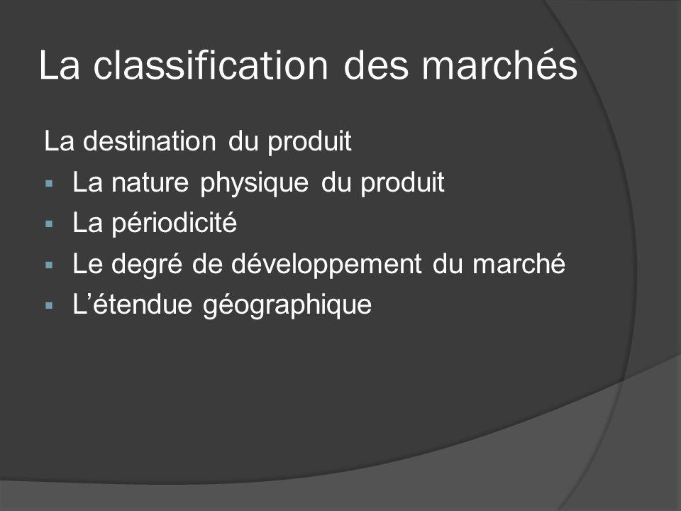 La classification des marchés La destination du produit La nature physique du produit La périodicité Le degré de développement du marché Létendue géog