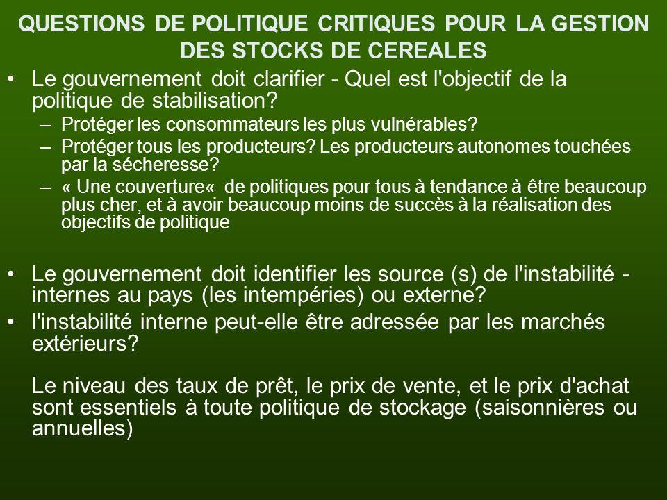 QUESTIONS DE POLITIQUE CRITIQUES POUR LA GESTION DES STOCKS DE CEREALES Le gouvernement doit clarifier - Quel est l'objectif de la politique de stabil