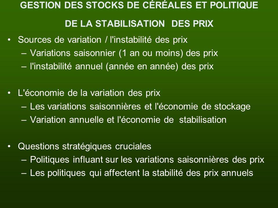 GESTION DES STOCKS DE CÉRÉALES ET POLITIQUE DE LA STABILISATION DES PRIX Sources de variation / l'instabilité des prix –Variations saisonnier (1 an ou