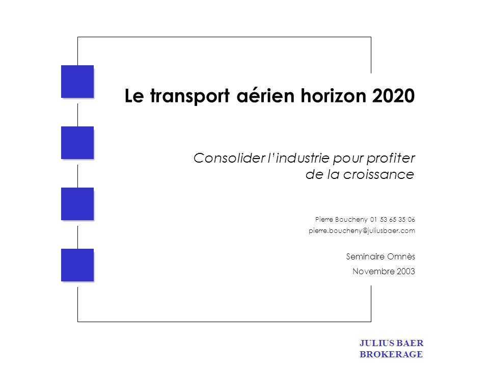 JULIUS BAER BROKERAGE 2 Le transport aérien horizon 2020 Un marché en croissance Pas de remise en cause des tendances de long terme.